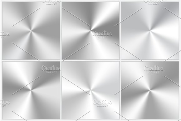 Set Of Silvery Conic Gradients