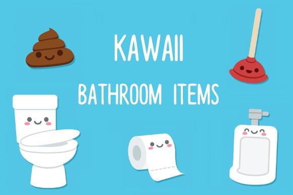 Cute Cartoon Bathroom Objects Illustrations Creative Market