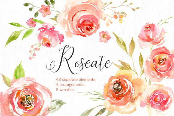 Pink Watercolor Flowers Wreaths PNG