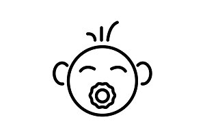 Web line icon. Baby with pacifier