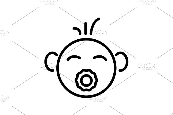 Web Line Icon Baby With Pacifier