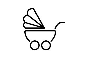 Web line icon. Baby carriage black