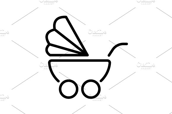 Web Line Icon Baby Carriage Black