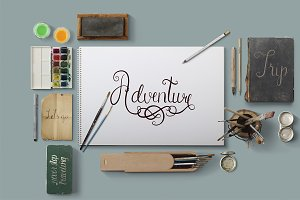 Vintage travel lettering art creator