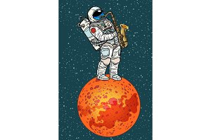 astronaut plays saxophone on Mars