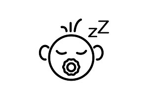 Web line icon. Sleeping child black