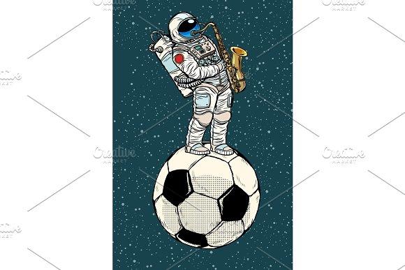 Astronaut Plays Saxophone On A Football Soccer Ball