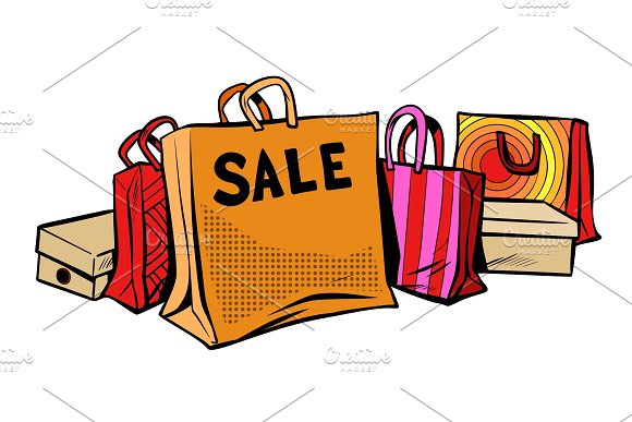 Bags Sale Season Discount Isolate On White Background