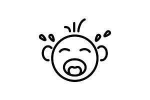 Web line icon. Crying Baby black