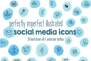 Hand Painted Social Media Icons