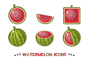Different shapes watermelon icons