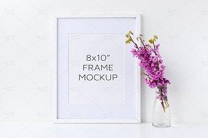 White Frame Mockup - Floral 8x10
