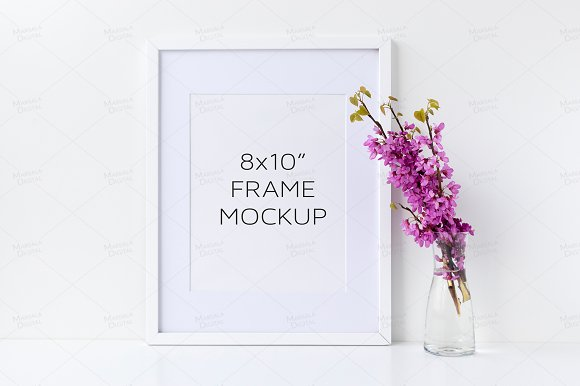 White Frame Mockup Floral 8x10