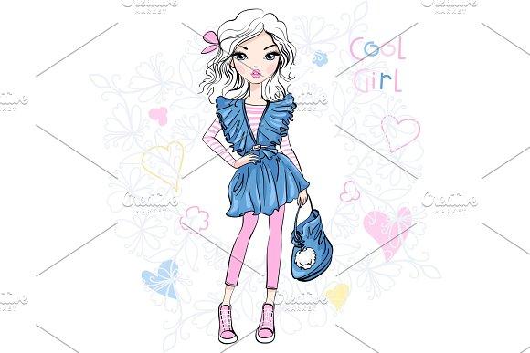 Vector Cute Fashionable Girl