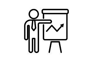 icon Business&#x3B; Report  man flipchart