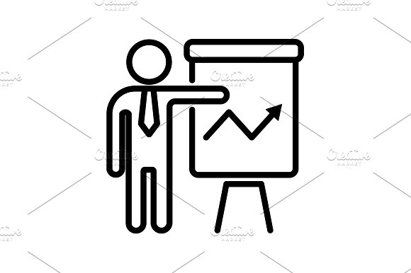 Icon Business Report Man Flipchart