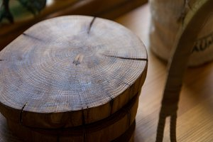 Wooden round stump used as tray