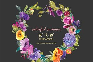 Watercolor Colorful Flowers Wreath