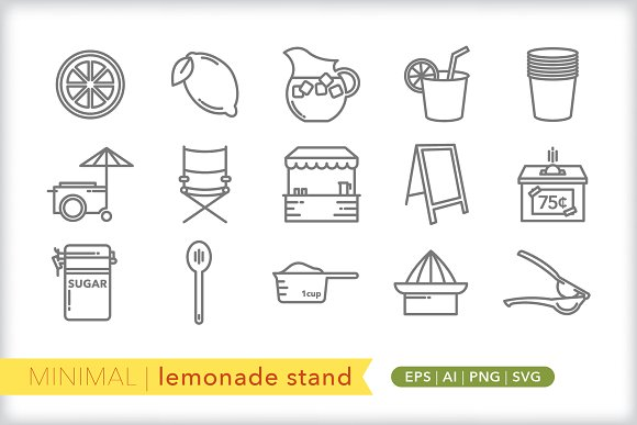 Minimal Lemonade Stand Icons