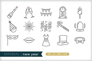Minimal new year icons