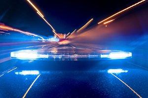 Police emergency lights. Madrid Spai