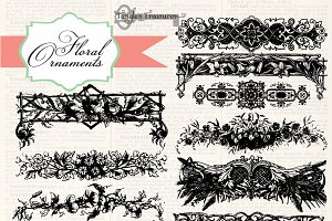 Vintage Floral Ornaments and Brushes