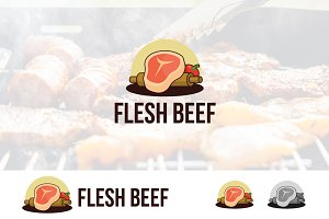 Flesh Beef Meat Cook Logo