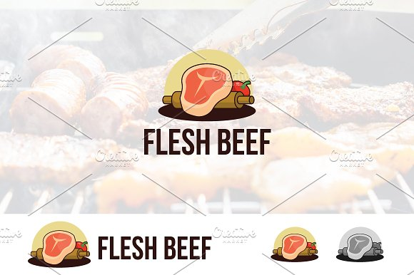 Flesh Beef Meat Cook Logo