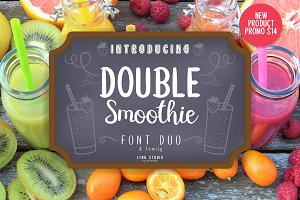 Double smoothie font duo & family