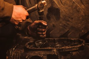 Motorcycle engine disassembly
