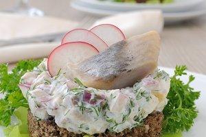 Salted herring tartare