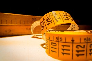 Tools used in tailor.Tape measure