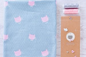 Fabric, cat, note, buttons
