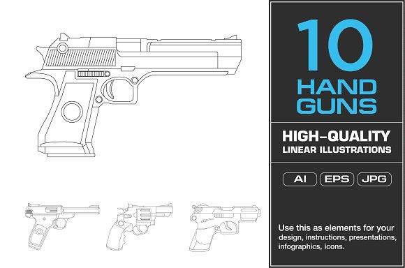 10 Handgun Illustrations