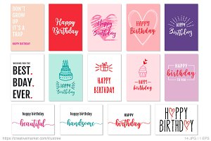 14 birthday cards, vector set