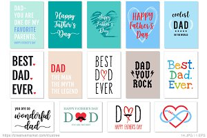 14 Father's Day cards, vector set