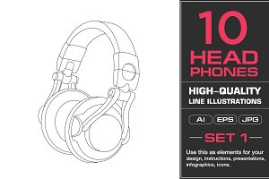 10 Headphones Illustrations