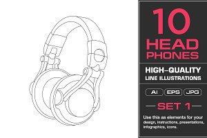 10 Headphones Illustrations
