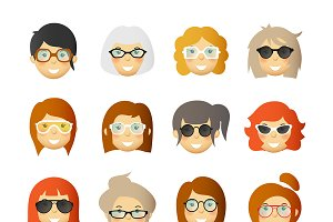 Women in glasses avatars set
