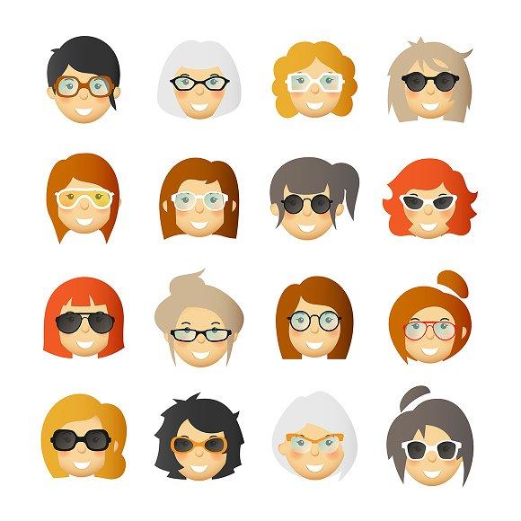 Women In Glasses Avatars Set