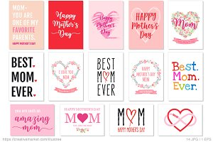 14 Mother's Day cards, vector set
