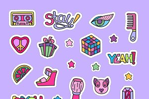 Girly party doodle clipart set