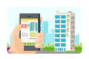 Online booking app concept