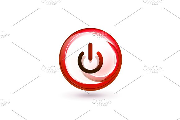 Glass Transparent Effect Power Start Button On Off Icon Vector UI Or App Symbol Design