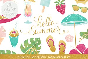 Summer Beach Clipart Set