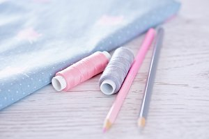 Fabric, threads, the pencils