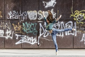 Contemporary dance dancer in urban setting