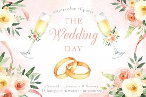 The Wedding Day Watercolor Clip Art