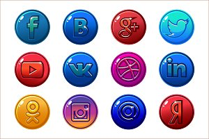 Golden and colored icons Social media. Circle buttons set
