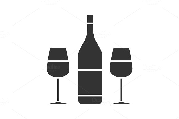 Wine And Two Glasses Glyph Icon